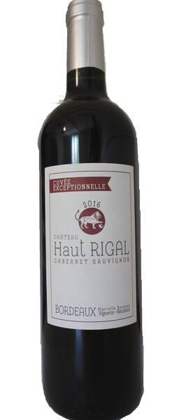 Château Haut Rigal  - cuvée exceptionnelle 100% cabernet sauvignon - bordeaux - Rouge - 2019