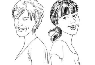 Dessin de Amélie et Cécile Buecher du vignoble des 2 lunes