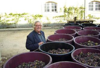 Après les vendanges, Xavier vient jeter un coup d'œil à la récolte du Château de Myrat